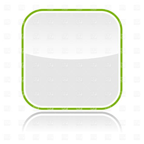 white glossy button blank template  green border