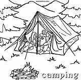 Camping Coloring Tent Printable Tourist Sheets Campfire Template Templates Sketch sketch template