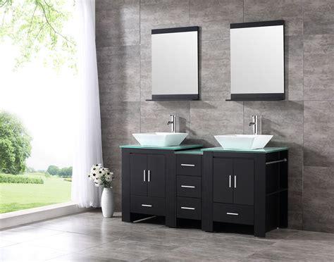 double ceramic sink bathroom vanity cabinet solid wood