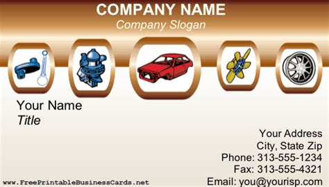 auto repair industry business card featuring  array