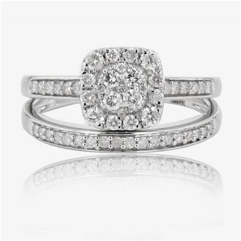 9ct white gold cluster bridal 2 ring 50ct