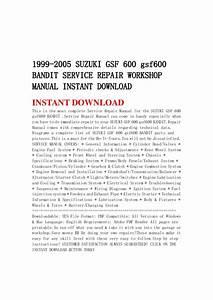 1999 2005 Suzuki Gsf 600 Gsf600 Bandit Service Repair