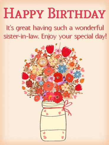 beautiful bouquet happy birthday card  sister  law
