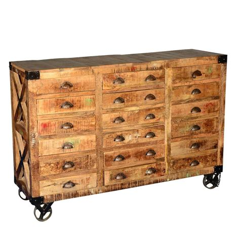 Storage Drawers On Casters by Industrial Hardwood 18 Drawers Apothecary Chest Dresser