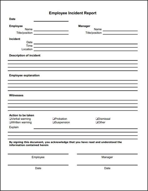 incident report form   printable templates lab