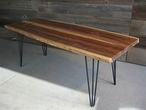 beautiful tables with 3 rod hairpin legs With live edge coffee table hairpin legs