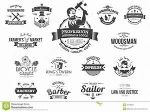 Retro profession logos stock vector Image of naval