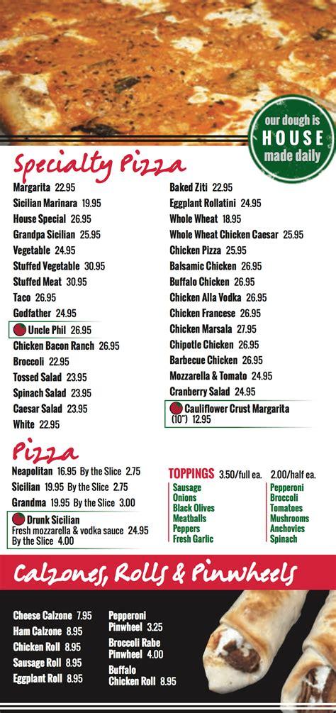 Menu : Phil's Pizzeria & Restaurant