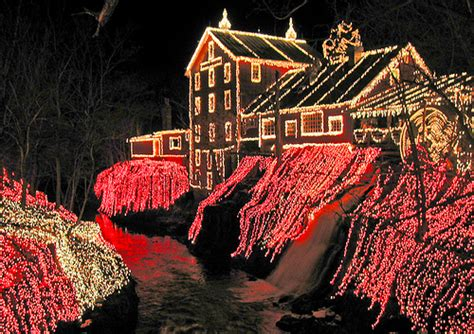 christmas lights at clifton mill in ohio surround the