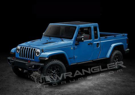 jeep wrangler pickup  scrambler rific  latest renderings carscoops
