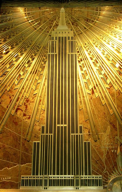 deco plaque depicting empire state building empire