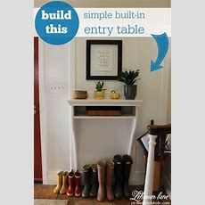 Remodelaholic  Diy Builtin Entryway Table With Board And