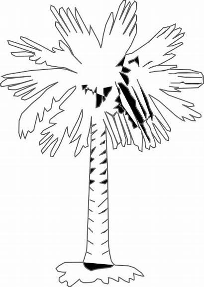 Palm Tree Palmetto Coloring Carolina Clip South