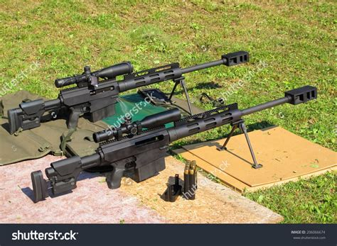 50 Bmg Range by Two Sniper Rifles 50 Bmg Caliber On Shooting Range With