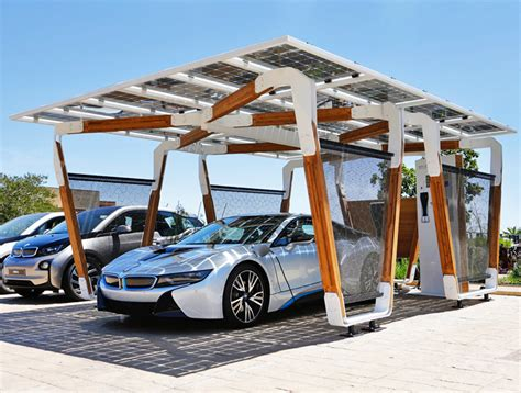 Bmw Unveils Solarpowered Bamboo Carport That Charges