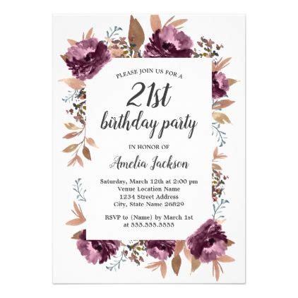 Bloom Purple Watercolor 21st Birthday Invitation Zazzle