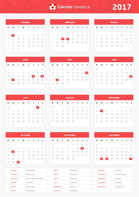 calendar canadaca  calendar   important