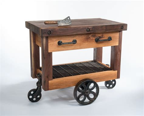 Hand Crafted Walnut And Oak Lineberry Factory Cart Butcher