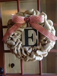 burlap wreath with letter wreaths pinterest With alphabet letter wreaths