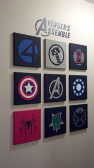 marvel wall made out of 10x10 canvases and acrylic paint crafts i done