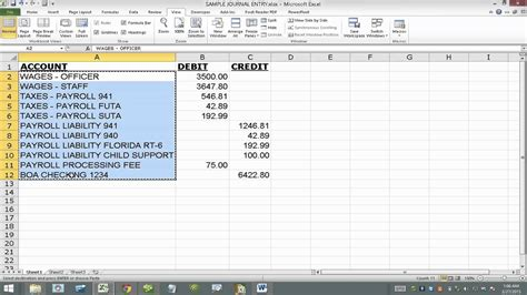 import journal entry  quickbooks  excel