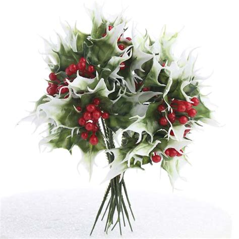 vinyl artificial holly floral picks holiday florals
