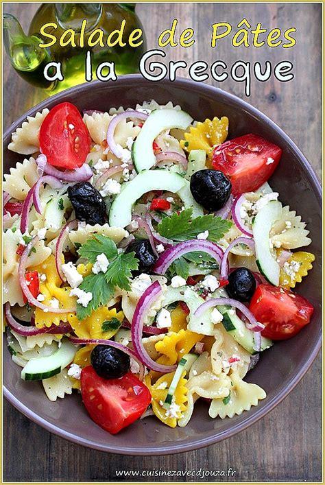 cuisine bicolore salade de pâte colorée farfalle à la grecque recettes