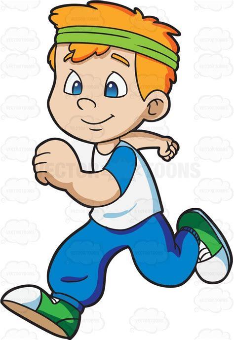 boy jogging happily running cartoon cartoon kids