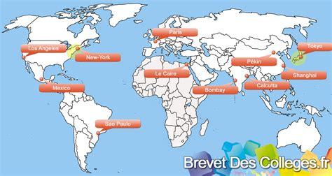 Carte Du Monde Villes Mondiales by Grandes Agglom 233 Rations