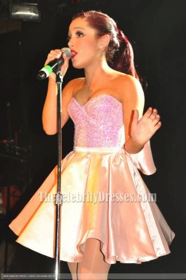 ariana grande cute pink cocktail dress irving plaza performance thecelebritydresses