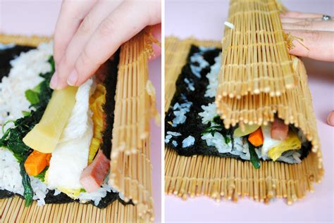 how to make kimbap kimbap korean rice rolls filled with vegetables and meat healthy home cooking
