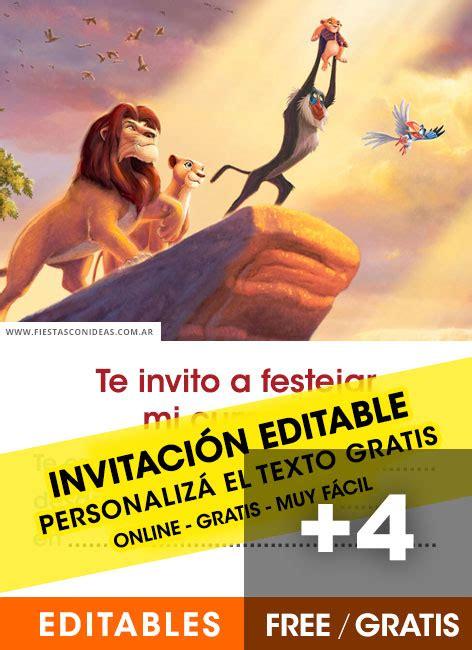invitaciones de el rey leon  lion king gratis