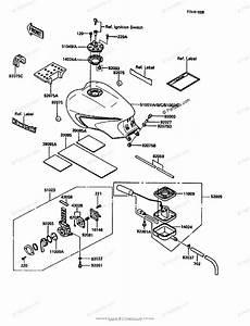 Kawasaki Motorcycle 1986 Oem Parts Diagram For Fuel Tank