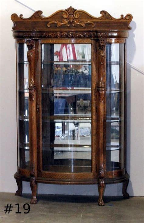 antique curved glass curio cabinet value antique curio china cabinet curved glass