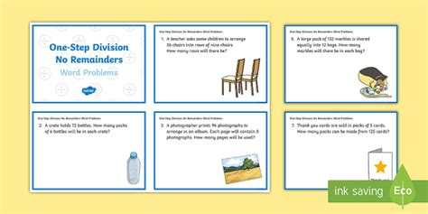 division worksheets ks2 no remainders ks2 one step division no remainders word problems maths challenge cards