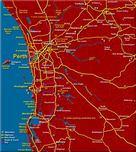 greater perth surrounds map wa