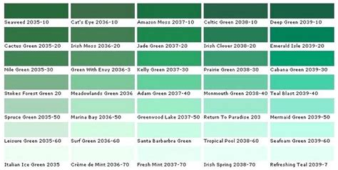 shades of green paint home names together with color list