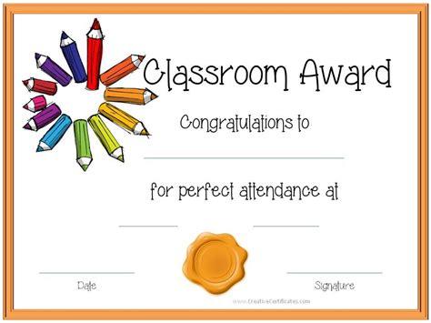 certificate template  kids perfect attendance award