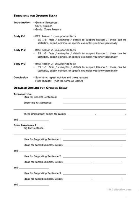 Opinion Essay Outline Worksheet  Free Esl Printable Worksheets Made By Teachers