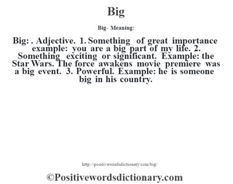 Bid Dictionary Big Definition Big Meaning Positive Words Dictionary