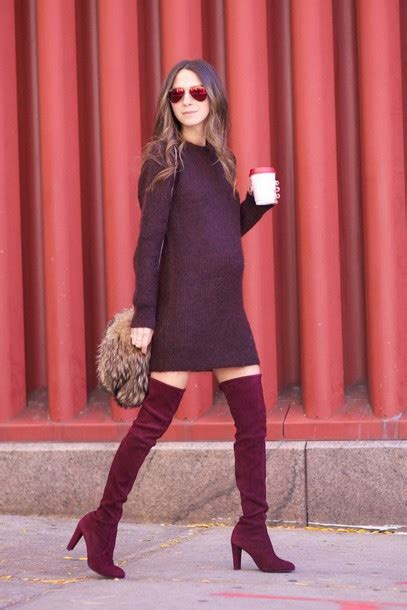 Dress winter date night outfit date outfit winter outfits burgundy dress burgundy boots ...