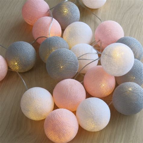 cotton balls lichterkette cotton lights 20 er lichterkette rosa grau wei 223 b 228 lle kugel led kuge ebay