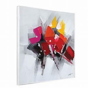 Tableau Moderne Noir Et Blanc : tableau design 60x60 orang et noir tableau contemporain rouge et noir ~ Teatrodelosmanantiales.com Idées de Décoration
