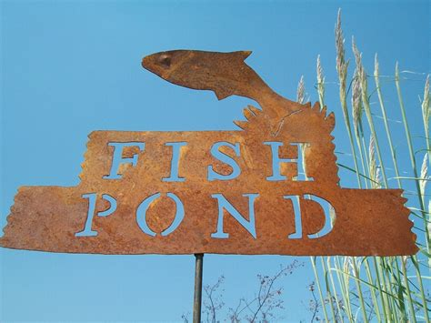 Rustic Tin Fish Pond Sign