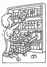 Coloring Pages Grocery Shopping Printable Getcolorings sketch template