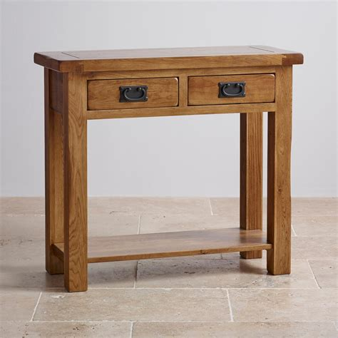 console table with drawers original rustic 2 drawer console table in solid oak