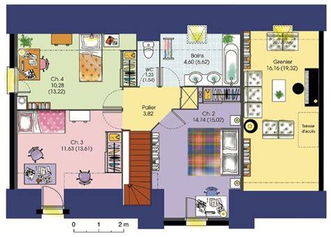 plan maison 4 chambres etage cuisine soubise plain pied m avec chambres garage maisons