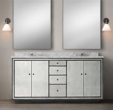 double sink mirrored bathroom vanity black border strand mirrored double vanity sink