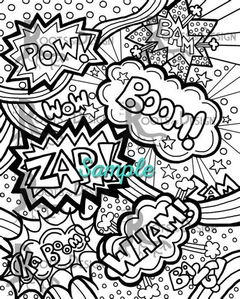 instant  coloring page comic book words pop art