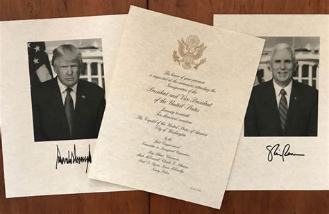 President Trump Inauguration Invitation And Signed Photo's